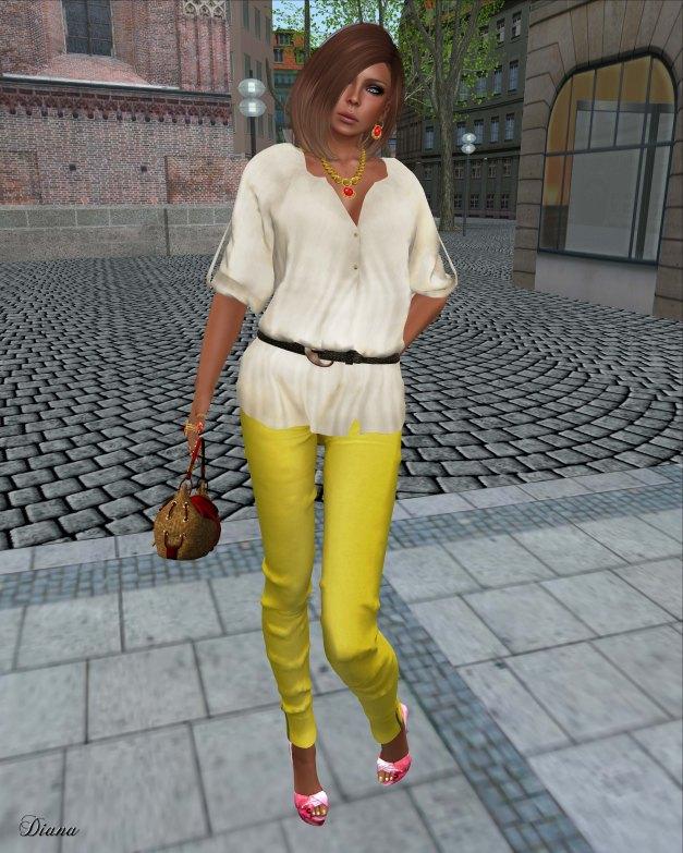 Indie Rose - Belted Boho Blouse Hemp Beige and Skinny Jeans Jeggings Lemon-1