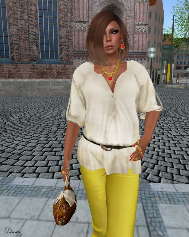 Indie Rose - Belted Boho Blouse Hemp Beige and Skinny Jeans Jeggings Lemon-2