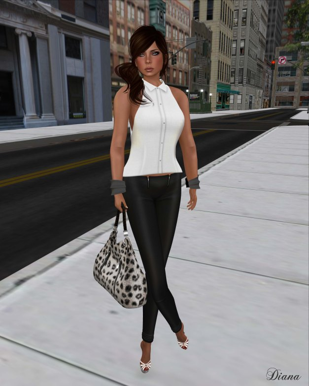 !Rebel Hope - Allie Mesh Leather Pants black and Betty Mesh Top white
