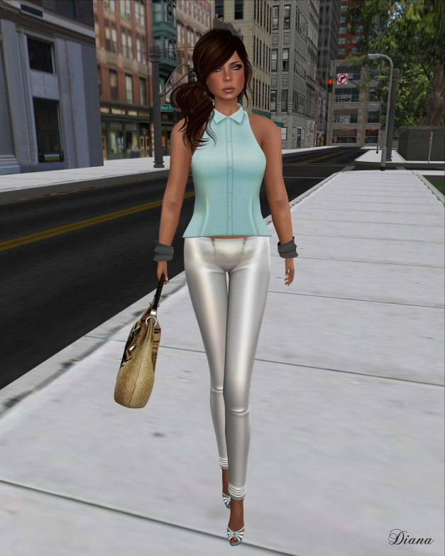 !Rebel Hope - Allie Mesh Leather Pants white and Betty Mesh Top blue