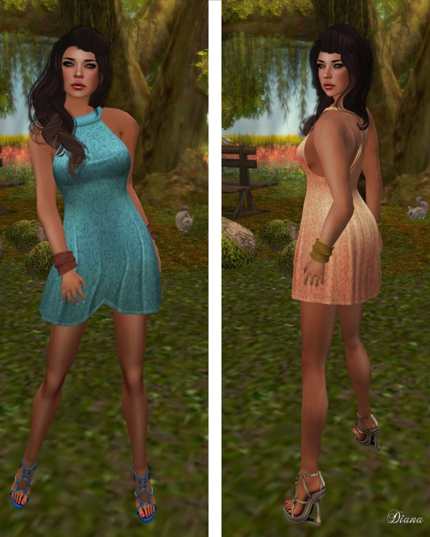 !Rebel Hope - Angela Mesh Dress Aqua and Peach