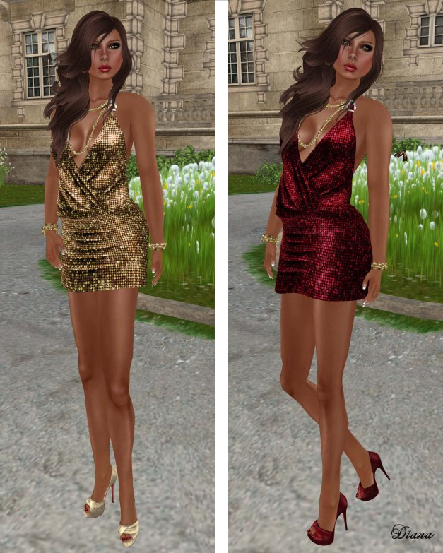 !Rebel Hope - Layla Mesh Sequin Dress Gold and Red
