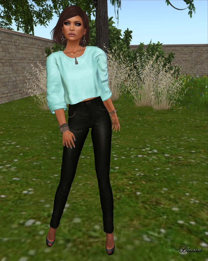 Ricielli - Mesh Basic Sweater mint and Mesh Highwaisted Leather Pants raven