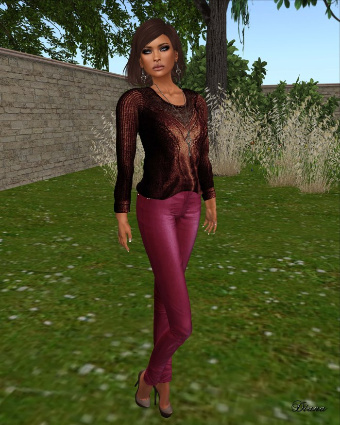 Ricielli - Mesh Metallic Jumper cobre and Mesh Highwaisted Leather Pants rose