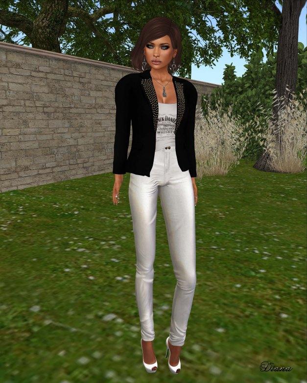 Ricielli - Mesh Spiked Blazer black,Mesh Shirt Under Blazer and Highwaisted Leather Pants white