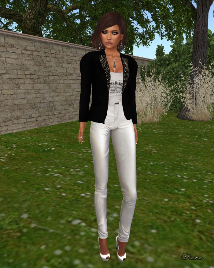 Ricielli - Mesh Spiked Blazer black,Mesh Shirt Under Blazer and Highwaisted Leather Pants white
