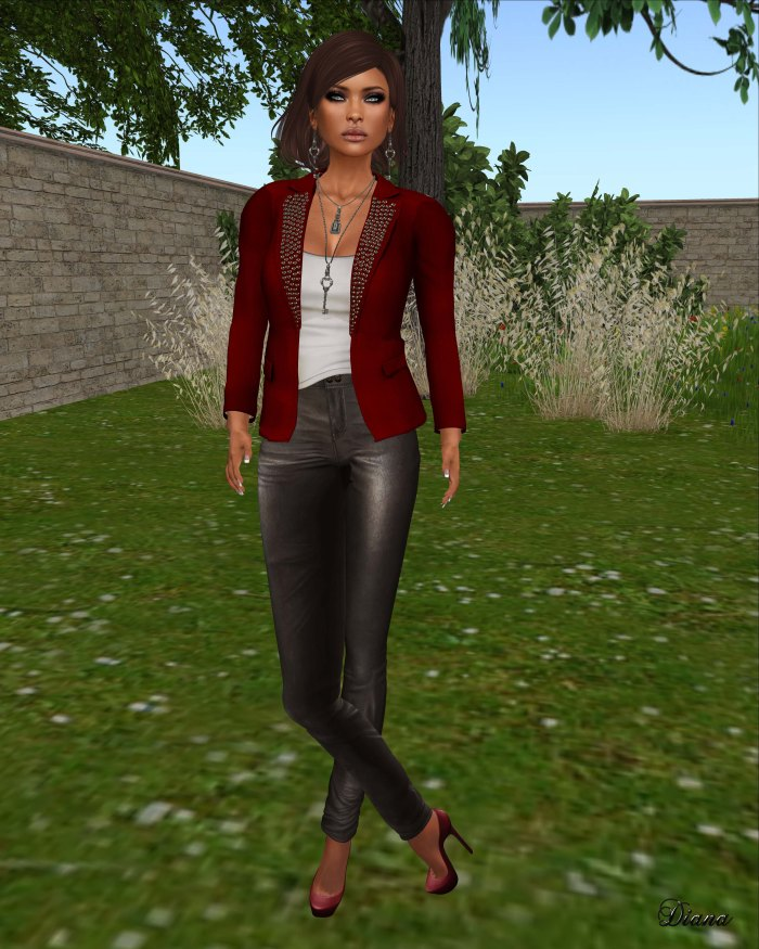 Ricielli - Mesh Spiked Blazer red and Mesh Highwaisted Leather Pants silvercloud