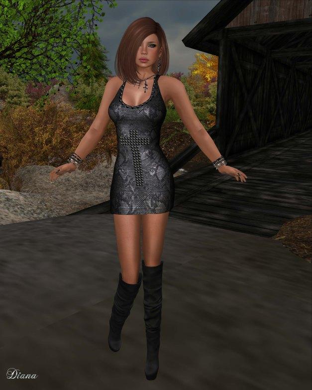 Ricielli - Mesh Studded Cross Dress snake