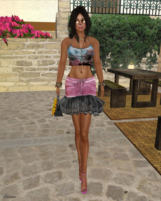 Baiastice - Crop Spaghetti Top pinktrees and Denim Tulle Skirt pink