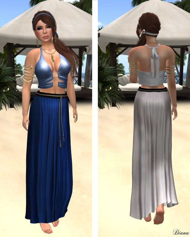 Baiastice - Mjrie top and Yse maxi skirt blue and ghost
