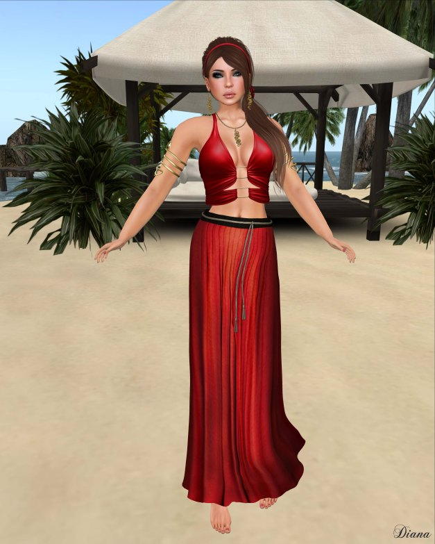Baiastice - Mjrie top and Yse maxi skirt red