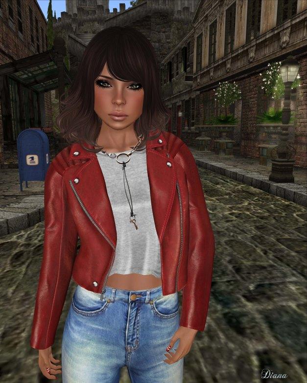 Emery - Biker Jacket Amadeus Tanager and High Waisted Jeans Debbie Wash-2
