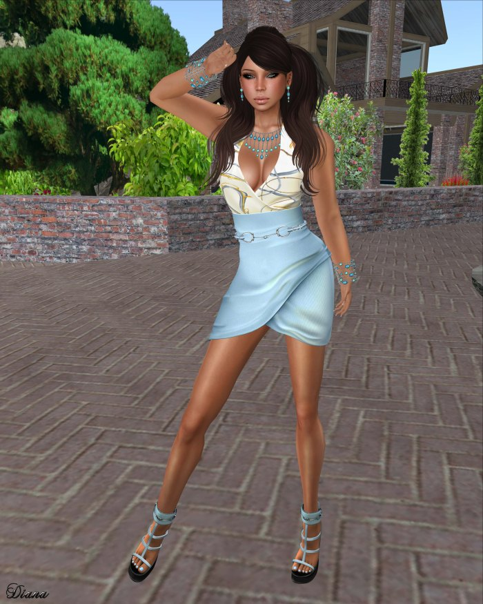 Gabriel - Mesh Wrapping Dress Ice Blue