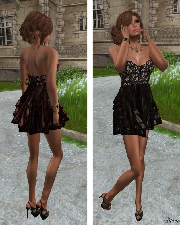 Hudsons Clothing - Lacy Cocktails Mesh Dress Peach and Black