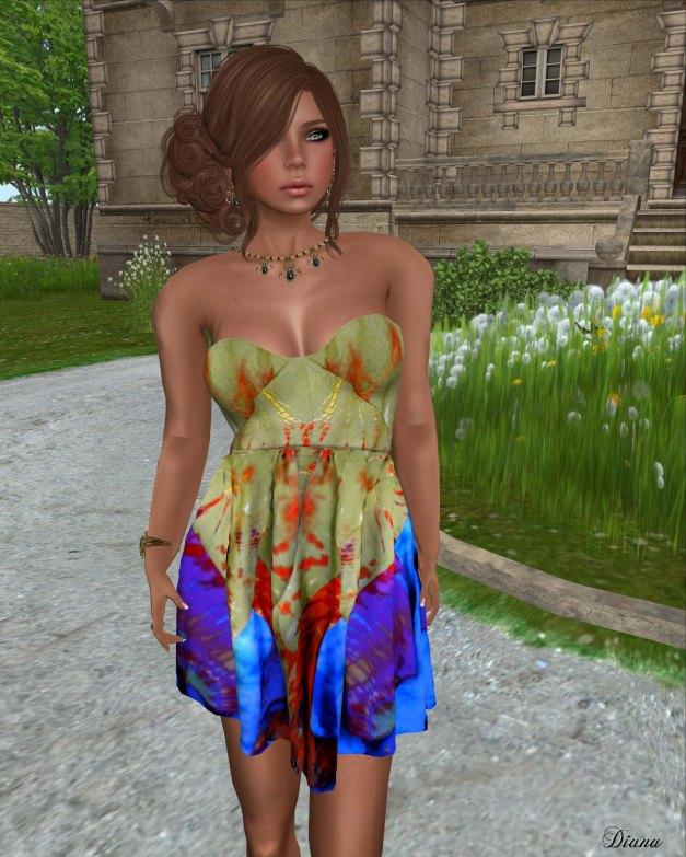 Hudsons Clothing - Tied Summer Cotton Mesh Dress green