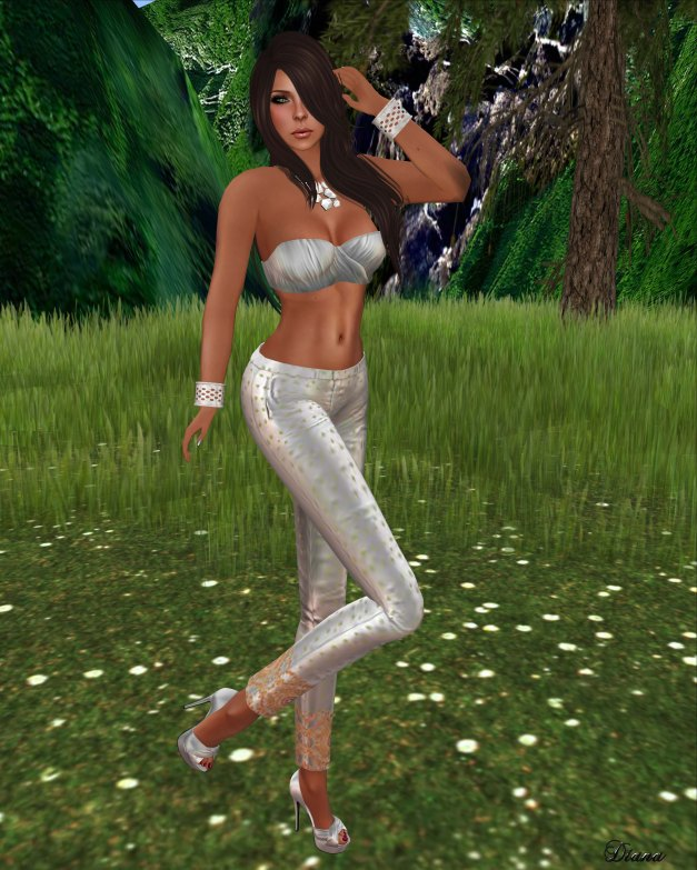 One Bad Pixel - Wrap Top Silver and Saloni Pants Silver-1