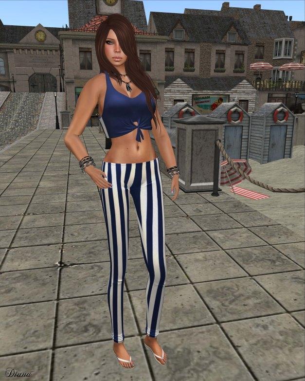 !Rebel Hope - Molly Mesh Tie Tank blueberry and Val Mesh Stripe Legging navy blue