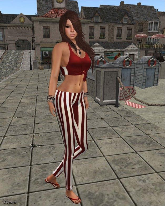 !Rebel Hope - Molly Mesh Tie Tank cherry and Val Mesh Stripe Legging red