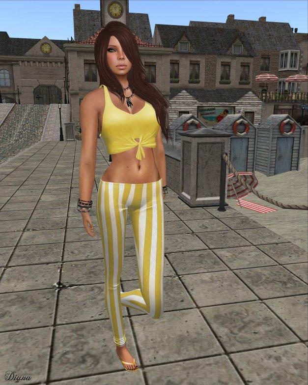!Rebel Hope - Molly Mesh Tie Tank lemon and Val Mesh Stripe Legging yellow