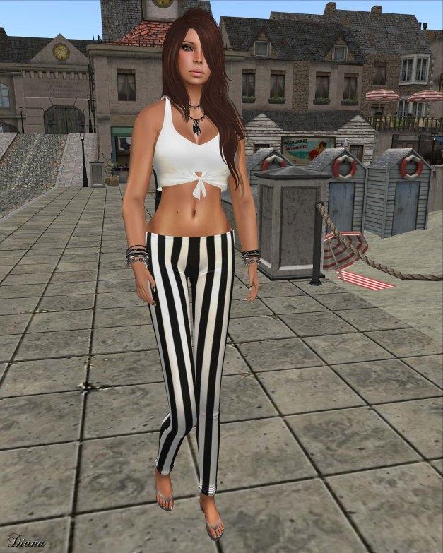 !Rebel Hope - Molly Mesh Tie Tank white and Val Mesh Stripe Legging black