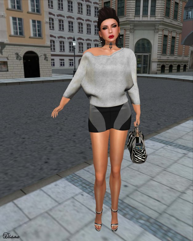 Cracked Mirror - Slouchy Sweater and Snare Mini Skirt