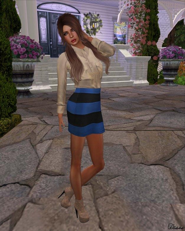 Emery - Safari Shirt Norbit Agre and Striped Skirt Ludwig Blue
