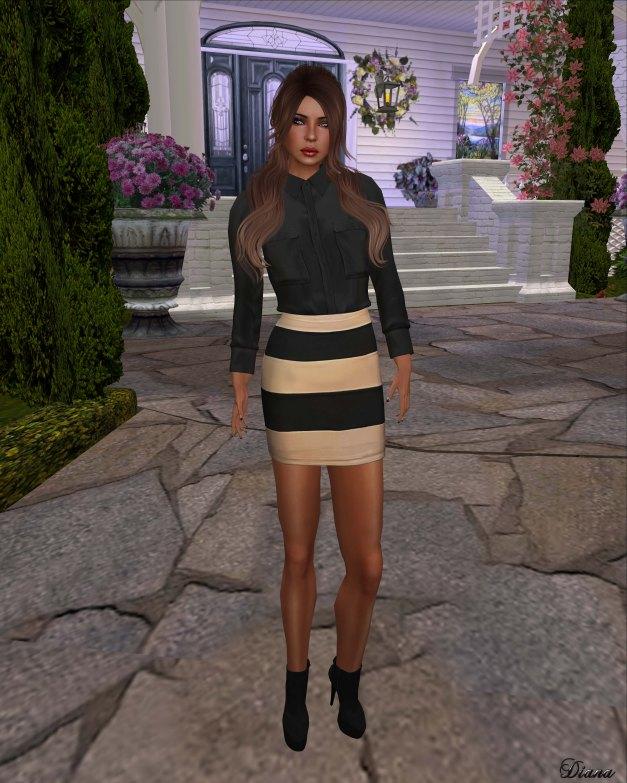 Emery - Safari Shirt Norbit Black and Striped Skirt Ludwig Beige