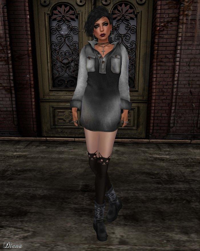 Gabriel - Hoody Dress Denim Black
