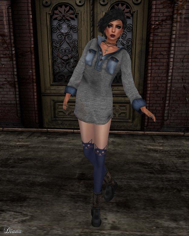 Gabriel - Hoody Dress Knit Gray