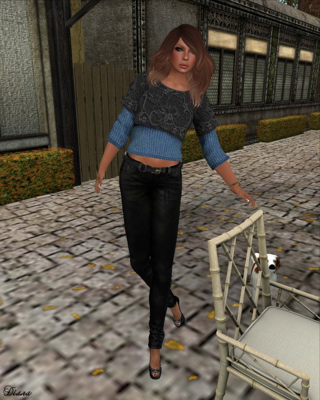 Hudson`s Clothing - Lace Layered Blue Sweater Mesh and Black Laced Denim Jeans & Belt Mesh