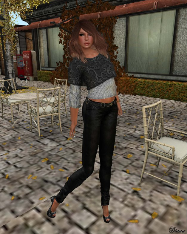 Hudson`s Clothing - Lace Layered Silver Sweater Mesh and Black Laced Denim Jeans & Belt Mesh
