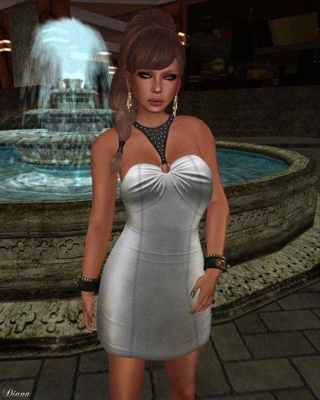 !Rebel Hope - Roxanne Mesh Leather Dress silver