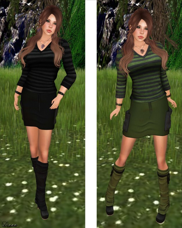 Sn@tch - Mesh Paris Striped Tees and Mesh Parker Cord Skirts-2