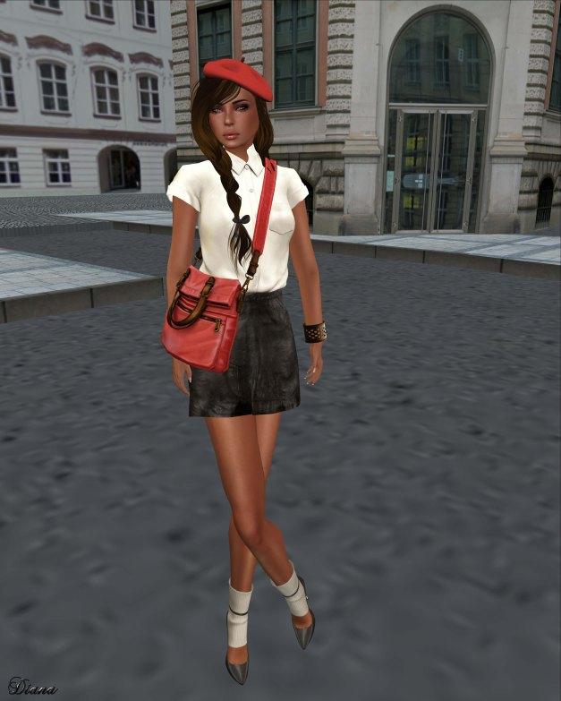 Tres Blah - Short Sleeve Blouse cream and Leather Skirt black-1