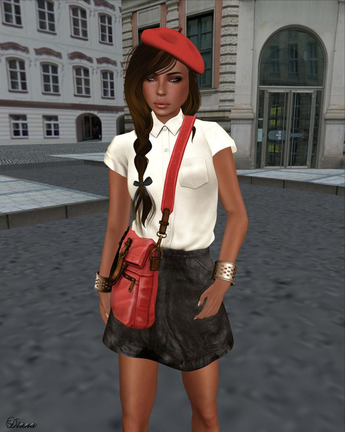Tres Blah - Short Sleeve Blouse cream and Leather Skirt black-2