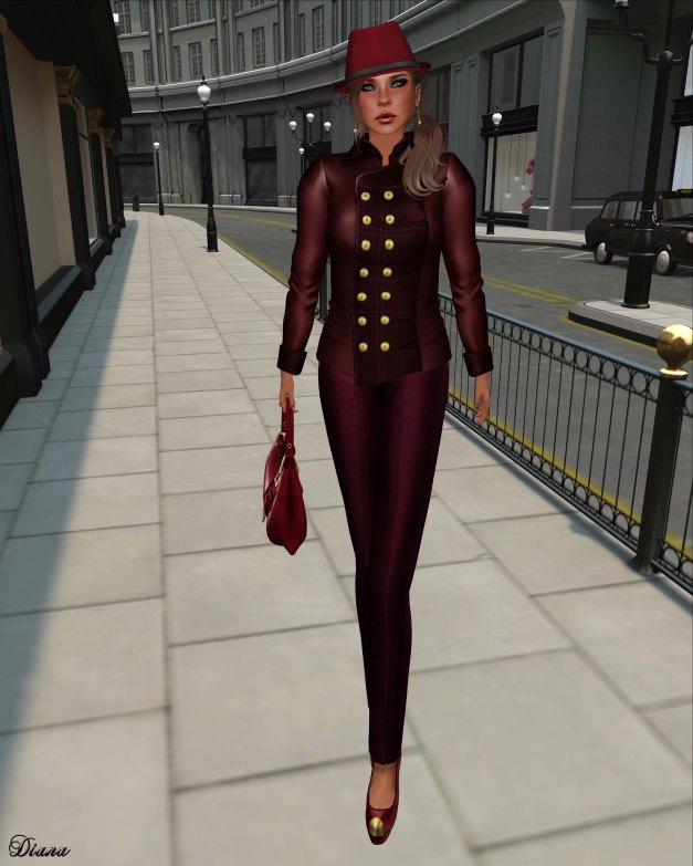 Baiastice - Brit Military Jacket and Emy high-waist trousers redwine