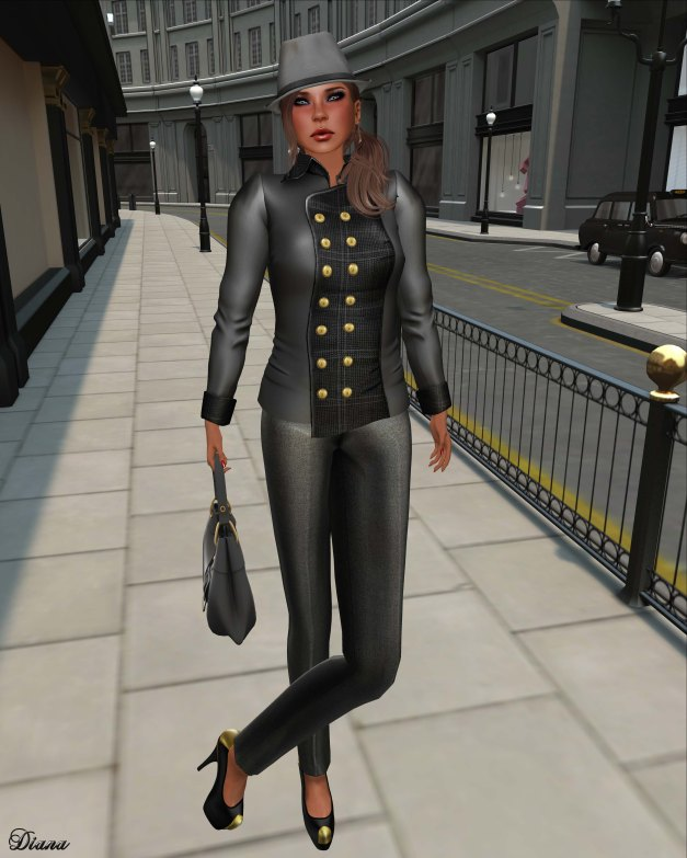 Baiastice - Brit Military Jacket grey and Emy high-waist trousers silver