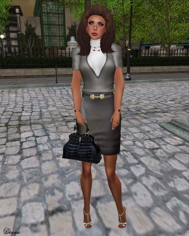 Baiastice - High-Neck Ann Sweater mercury and Ann Pencil Skirt grey leather