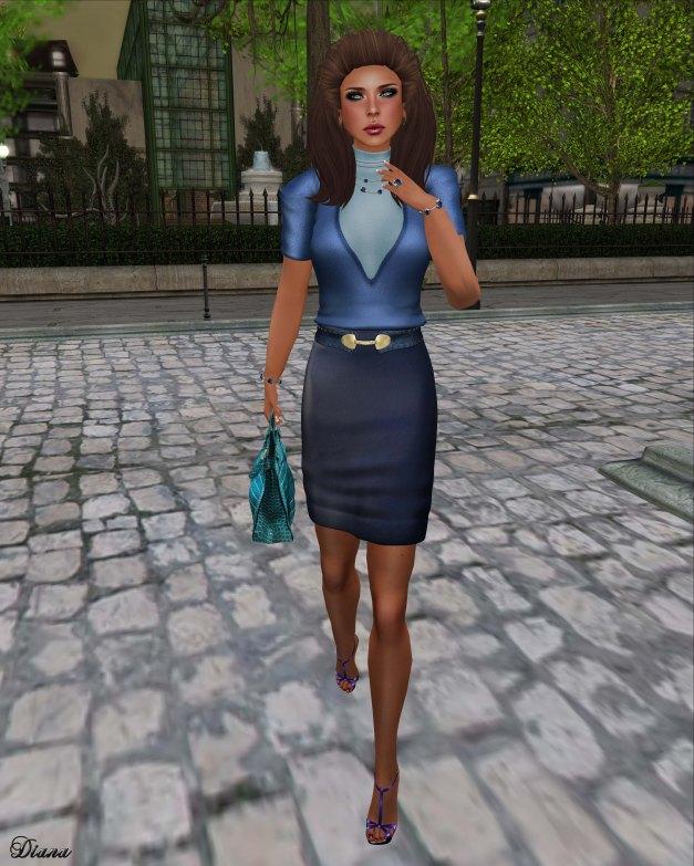 Baiastice - High-Neck Ann Sweater vivid blue and Ann Pencil Skirt blue leather