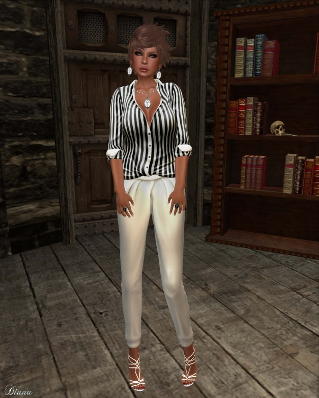 erratic - keira shirt black stripes and ally pleated pants white