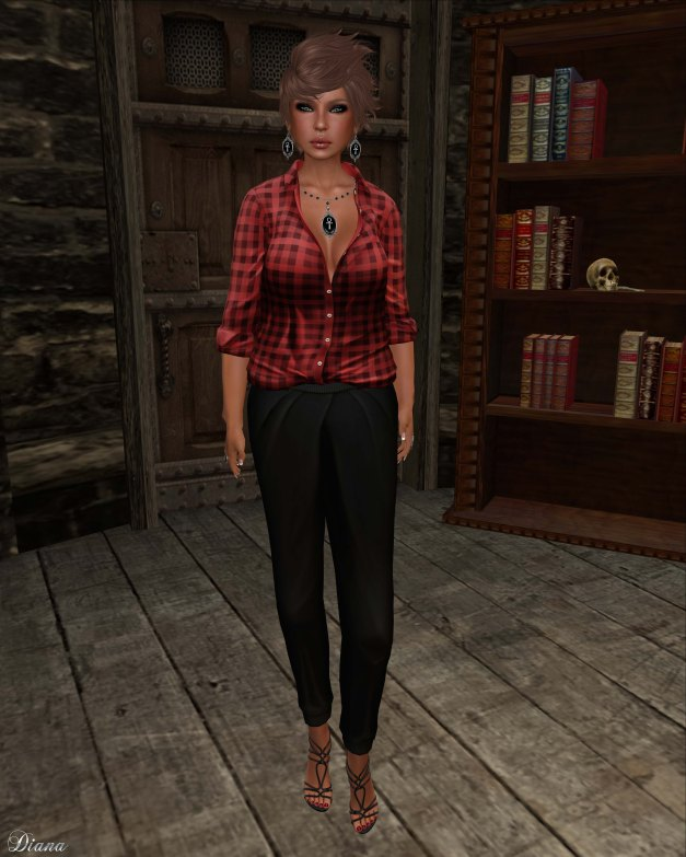 erratic - keira shirt red plaid and ally pleated pants black