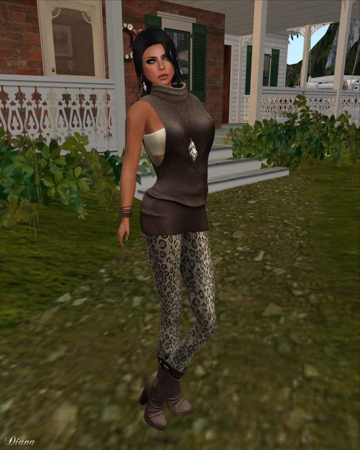 Gabriel - Mesh Turtleneck sweater brown and Mesh Leggings leopard