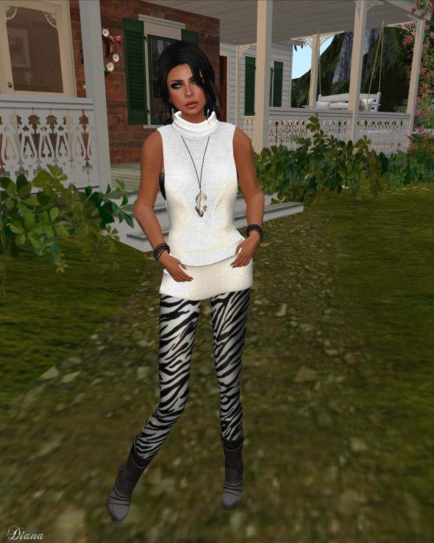 Gabriel - Mesh Turtleneck sweater white and Mesh Leggings zebra