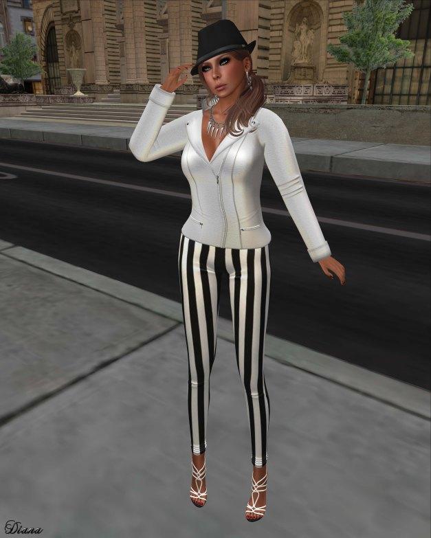 !Rebel Hope - Sherry Mesh Jacket white and Val Mesh Stripe Legging black