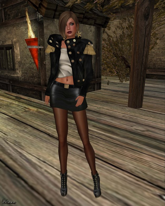 GizzA - Dropped Collar Jacket and Mini Leather Skirt black