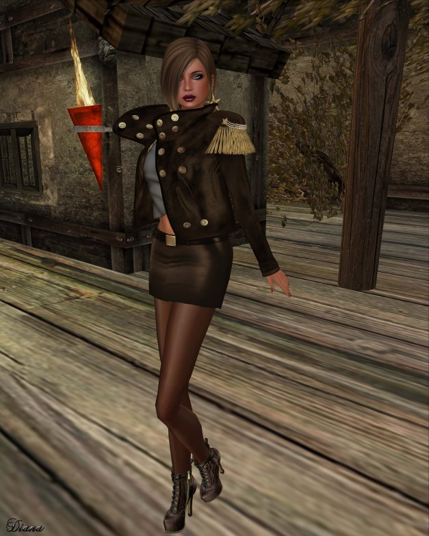 GizzA - Dropped Collar Jacket and Mini Leather Skirt espresso
