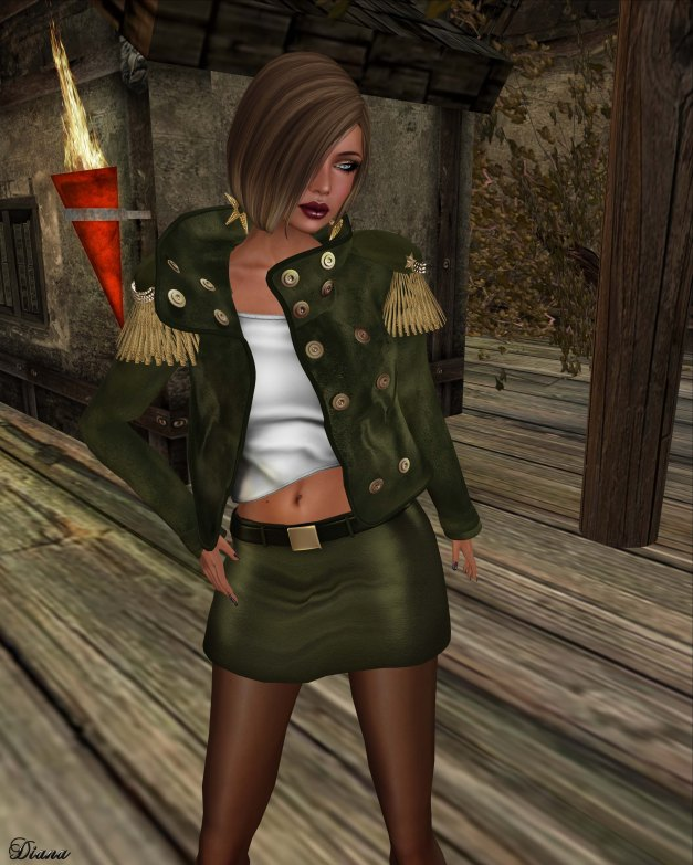 GizzA - Dropped Collar Jacket and Mini Leather Skirt olive