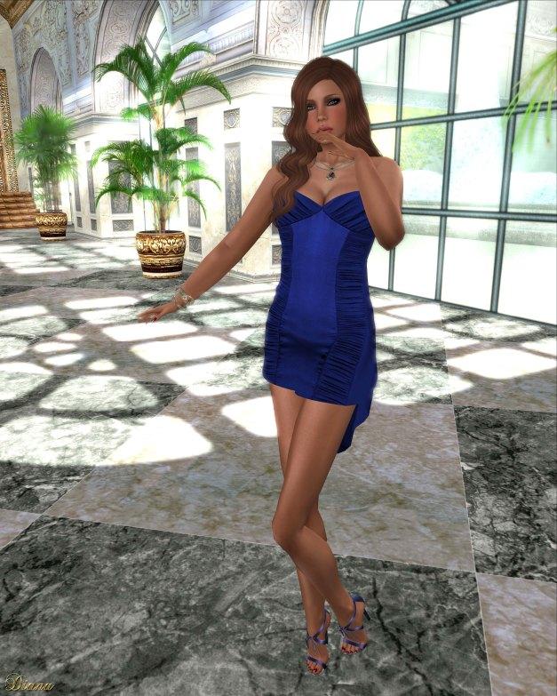 Hudson`s Clothing - Blue Cocktails Mesh Slip Dress-Groupgift