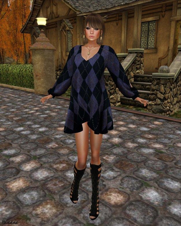 Hudson`s Clothing - Evening Blue Argyle Mesh Dress