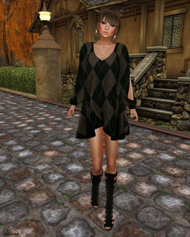 Hudson`s Clothing - Forest Green Argyle Mesh Dress
